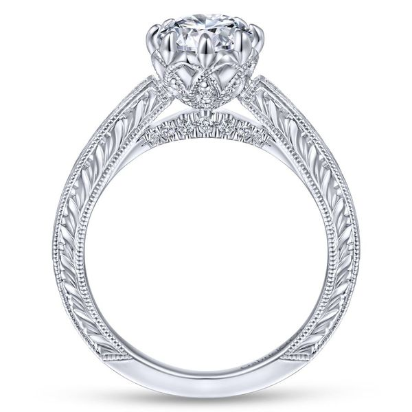 14K White Gold Round Vintage Diamond Engagement Ring Image 2 Koerber's Fine Jewelry, Inc. New Albany, IN