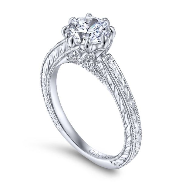 14K White Gold Round Vintage Diamond Engagement Ring Image 3 Koerber's Fine Jewelry, Inc. New Albany, IN