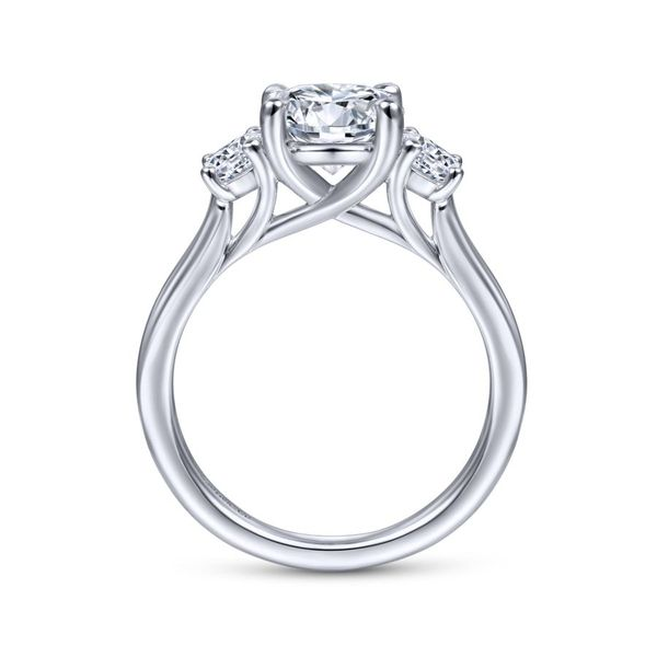 14K White Gold Round 3 Stone Diamond Engagement Ring Image 2 Koerber's Fine Jewelry, Inc. New Albany, IN