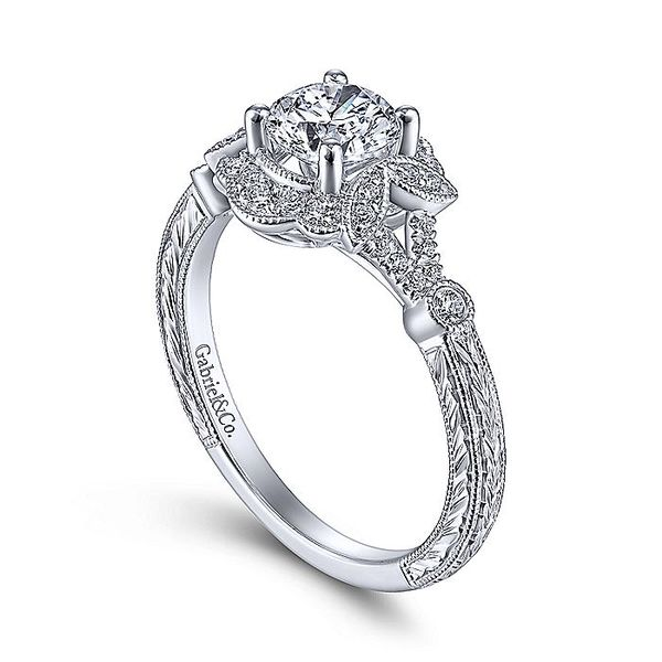 14K White Gold Vintage Round Halo Diamond Engagement Ring Image 2 Koerber's Fine Jewelry, Inc. New Albany, IN