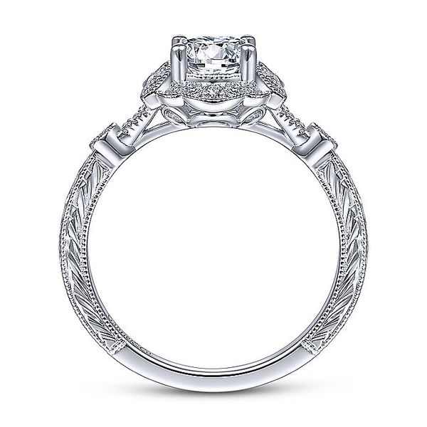 14K White Gold Vintage Round Halo Diamond Engagement Ring Image 3 Koerber's Fine Jewelry, Inc. New Albany, IN