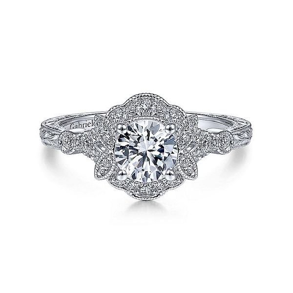 14K White Gold Vintage Round Halo Diamond Engagement Ring Koerber's Fine Jewelry, Inc. New Albany, IN