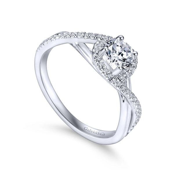 14K White Gold Round Twisted Diamond Engagement Ring Image 3 Koerber's Fine Jewelry, Inc. New Albany, IN