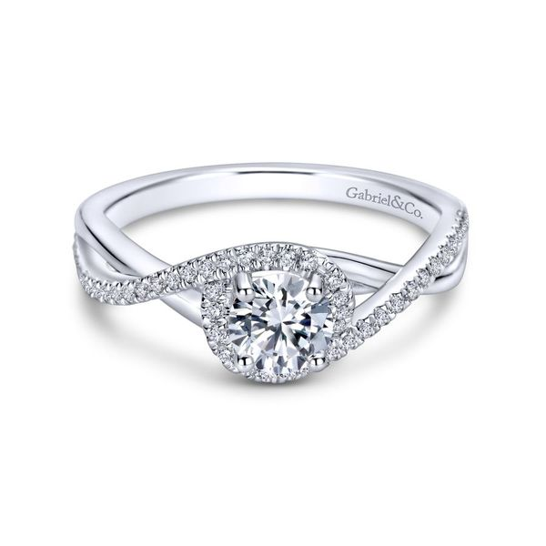 14K White Gold Round Twisted Diamond Engagement Ring Koerber's Fine Jewelry, Inc. New Albany, IN
