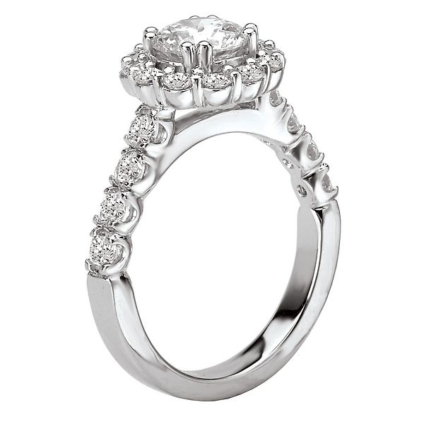 18K White Gold Round Halo Diamond Engagement Ring Image 3 Koerber's Fine Jewelry, Inc. New Albany, IN