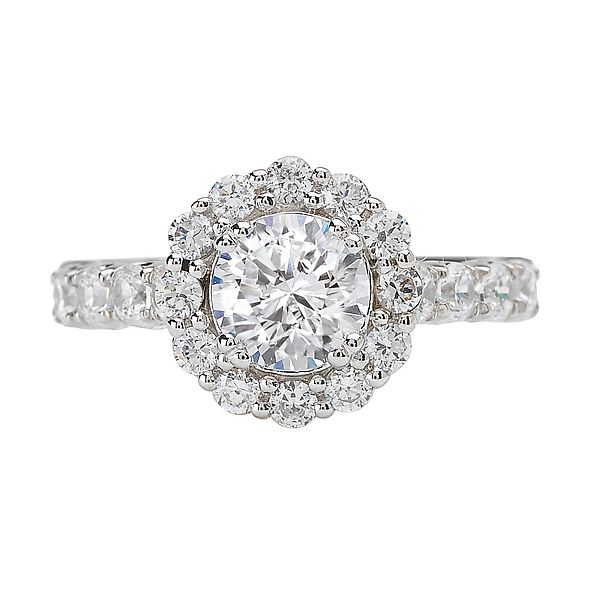 18K White Gold Round Halo Diamond Engagement Ring Koerber's Fine Jewelry, Inc. New Albany, IN