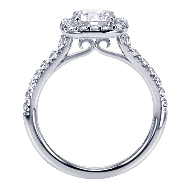 14K White Gold Cushion Halo Round Diamond Engagement Ring Image 2 Koerber's Fine Jewelry, Inc. New Albany, IN