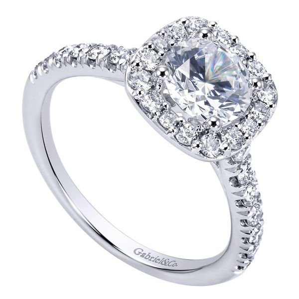 14K White Gold Cushion Halo Round Diamond Engagement Ring Image 3 Koerber's Fine Jewelry, Inc. New Albany, IN