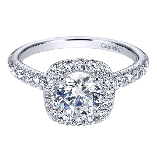 14K White Gold Cushion Halo Round Diamond Engagement Ring Koerber's Fine Jewelry, Inc. New Albany, IN