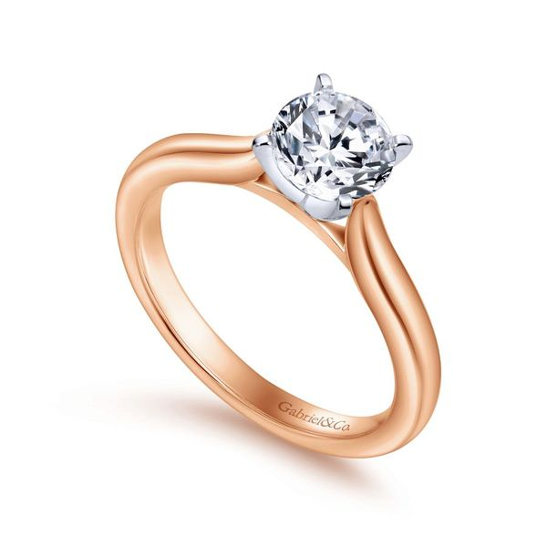 14K White and Rose Gold Round Diamond Engagement Ring Image 2 Koerber's Fine Jewelry, Inc. New Albany, IN
