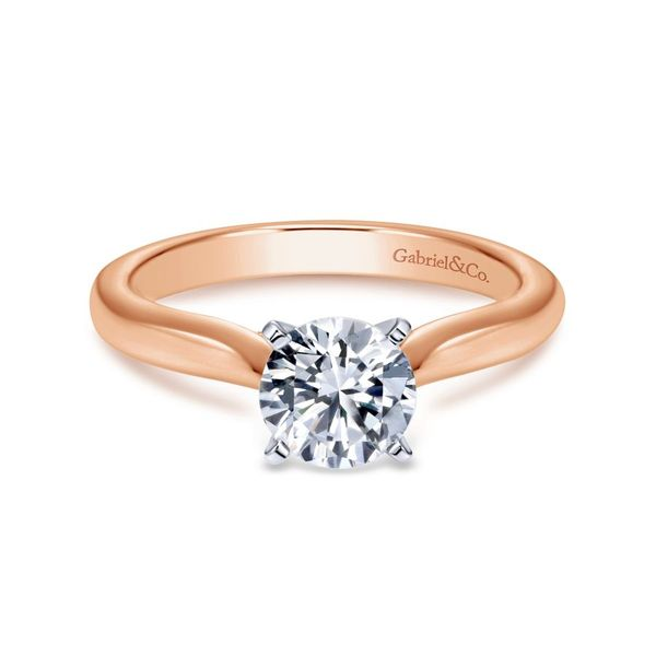 14K White and Rose Gold Round Diamond Engagement Ring Koerber's Fine Jewelry, Inc. New Albany, IN