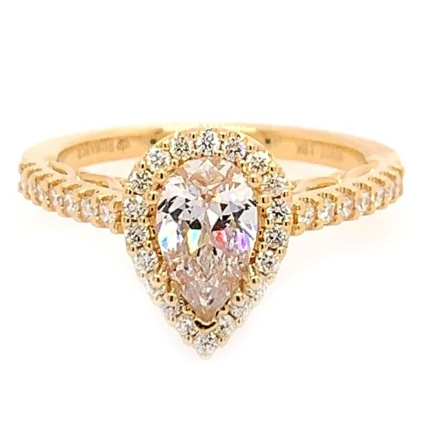 18K Yellow Gold Pear Halo Engagement Ring Koerber's Fine Jewelry, Inc. New Albany, IN
