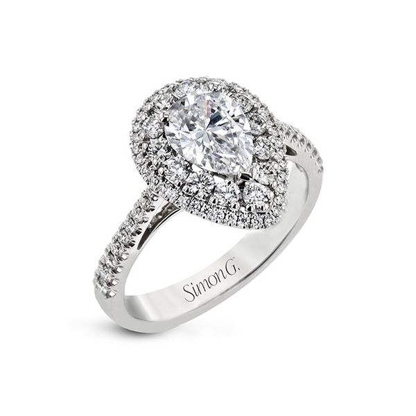 18K White Gold Double Halo Pear Shaped Diamond Ring Koerber's Fine Jewelry, Inc. New Albany, IN