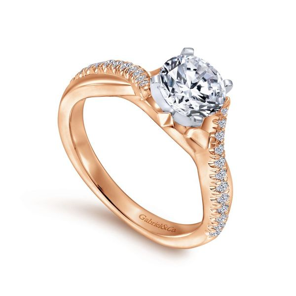 14K White and Rose Gold Round Diamond Twisted Engagement Ring Image 3 Koerber's Fine Jewelry, Inc. New Albany, IN