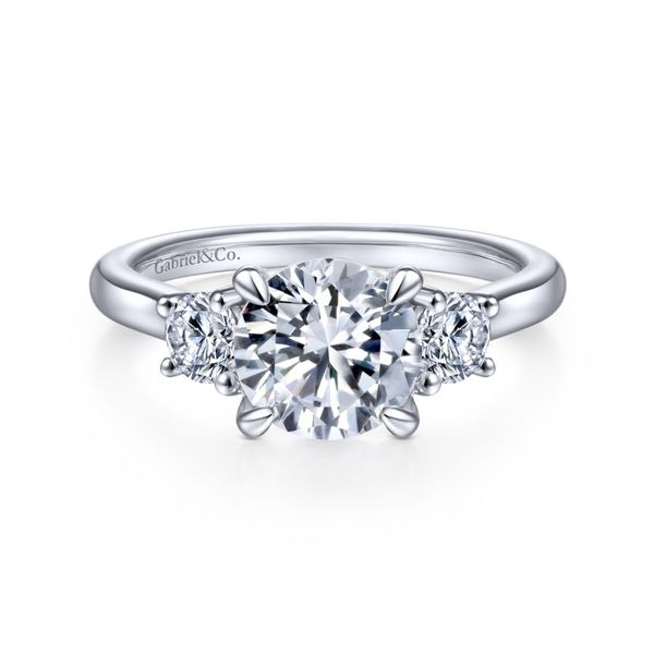 14K White Gold Round 3 Stone Diamond Engagement Ring Koerber's Fine Jewelry, Inc. New Albany, IN