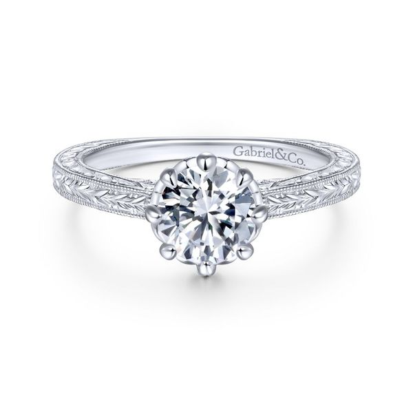 14K White Gold Vintage Round Diamond Engagement Ring Koerber's Fine Jewelry, Inc. New Albany, IN