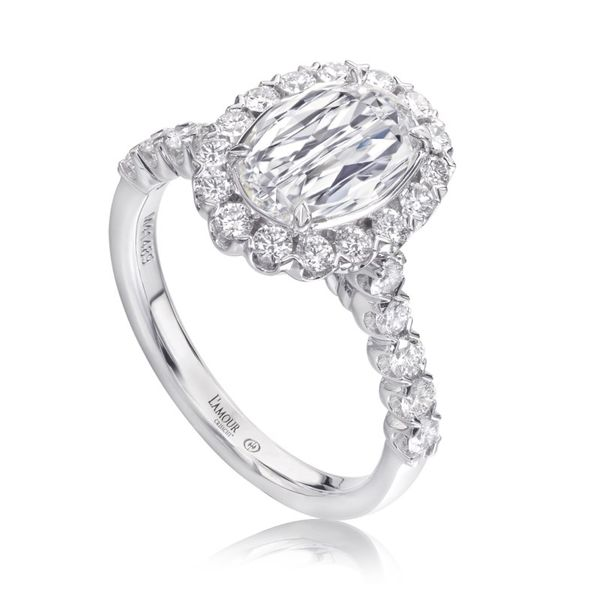 18K White Gold Oval CrissCut Diamond Halo Ring Koerber's Fine Jewelry, Inc. New Albany, IN