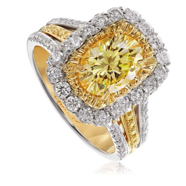 18K Yellow and White Gold Diamond Halo Fashion Ring Koerber's Fine Jewelry, Inc. New Albany, IN