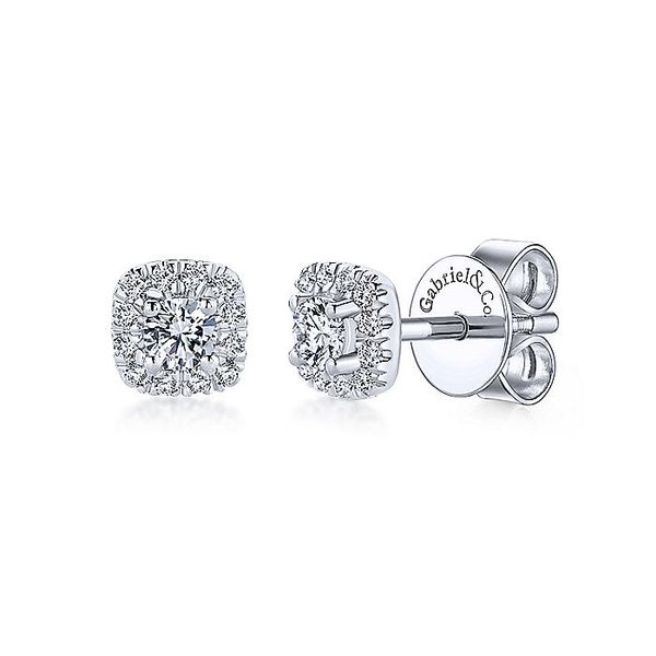 14k White Gold Cushion Halo Round Diamond Stud Earrings Koerber's Fine Jewelry, Inc. New Albany, IN