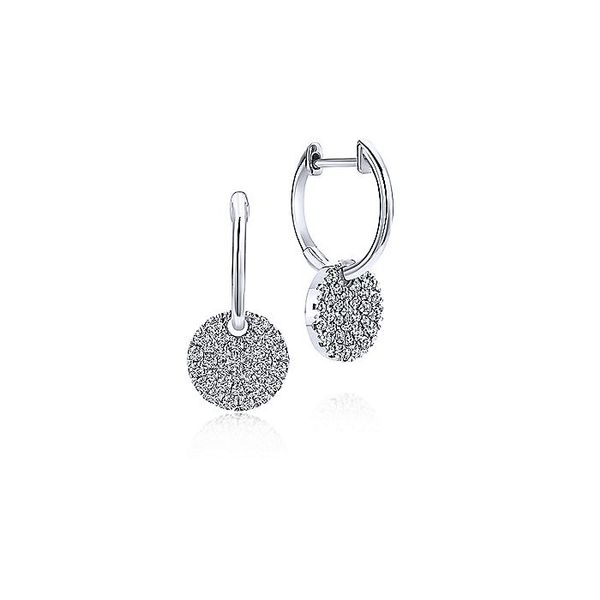 14K White Gold Diamond Pave Disc Drop Earrings Koerber's Fine Jewelry, Inc. New Albany, IN