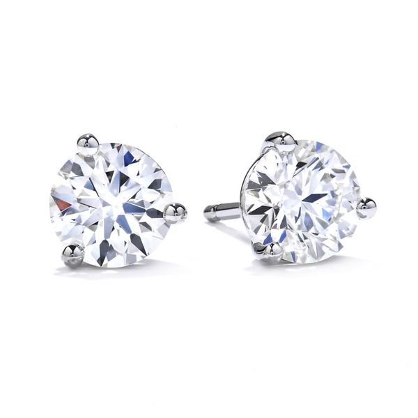 18K White Gold Three-Prong Stud Earrings Koerber's Fine Jewelry, Inc. New Albany, IN