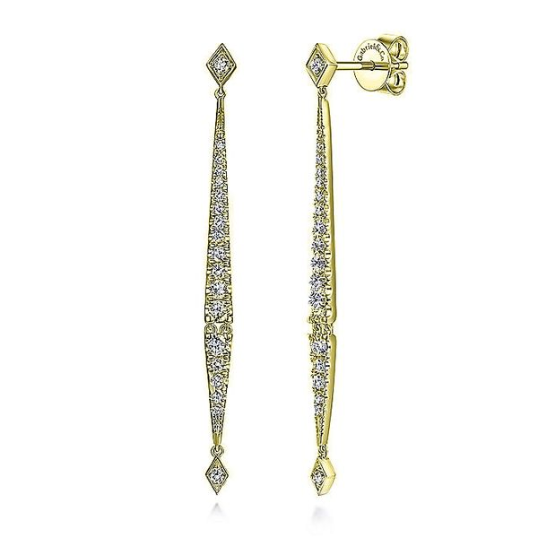 14K Yellow Gold Long Diamond Bar Drop Earrings Koerber's Fine Jewelry, Inc. New Albany, IN