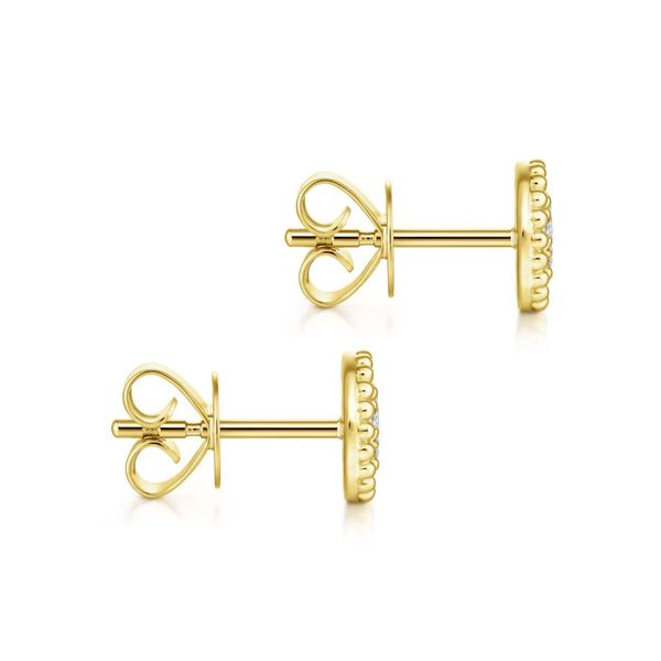 14K Yellow Gold Beaded Round Diamond Cluster Stud Earrings Image 2 Koerber's Fine Jewelry, Inc. New Albany, IN