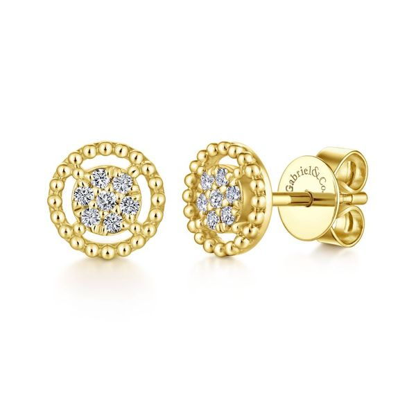 14K Yellow Gold Beaded Round Diamond Cluster Stud Earrings Koerber's Fine Jewelry, Inc. New Albany, IN