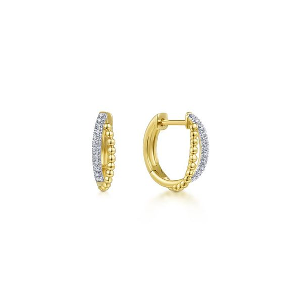 14K Yellow Gold Twisted Pave Diamond Huggie Earrings Koerber's Fine Jewelry, Inc. New Albany, IN