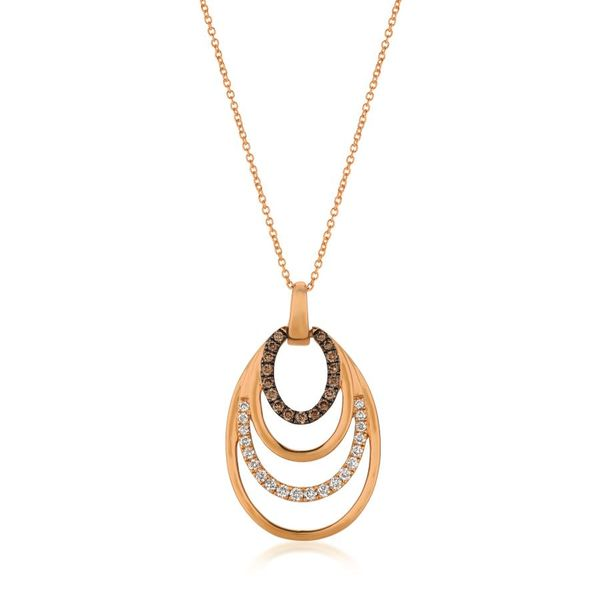 14K Strawberry Gold Four Oval Rings Diamond Pendant Koerber's Fine Jewelry, Inc. New Albany, IN