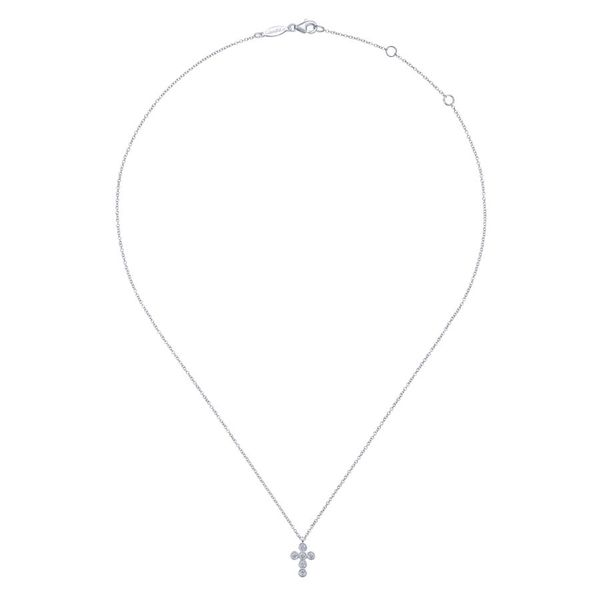 14K White Gold Round Diamond Cross Necklace Image 2 Koerber's Fine Jewelry, Inc. New Albany, IN