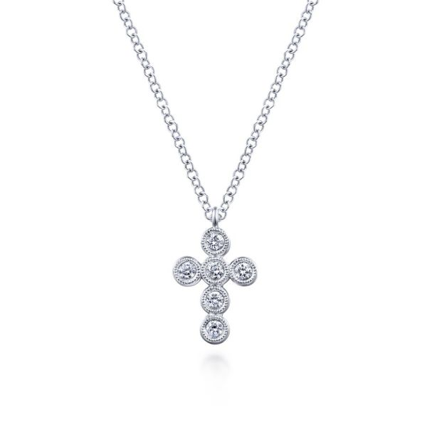 14K White Gold Round Diamond Cross Necklace Koerber's Fine Jewelry, Inc. New Albany, IN
