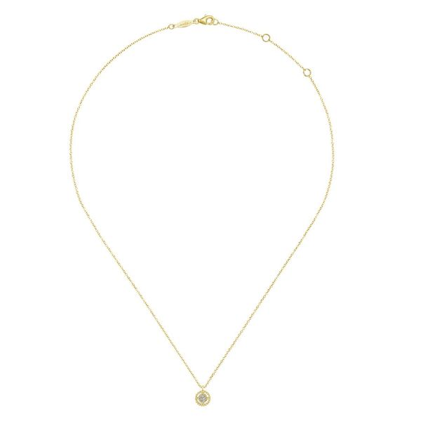 14K Yellow Gold Beaded Round Floating Diamond Pendant Necklace Image 2 Koerber's Fine Jewelry, Inc. New Albany, IN