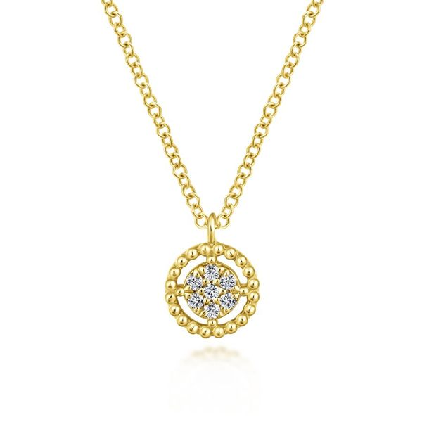 14K Yellow Gold Beaded Round Floating Diamond Pendant Necklace Koerber's Fine Jewelry, Inc. New Albany, IN