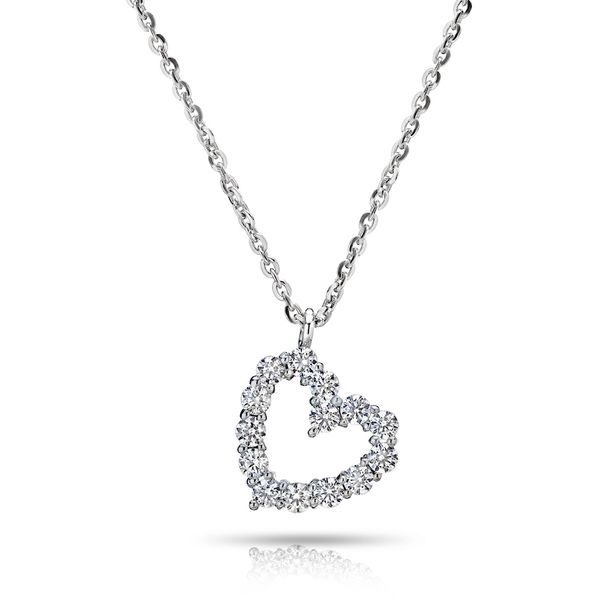 18K White Gold Heart Shaped Diamond Pendant Koerber's Fine Jewelry, Inc. New Albany, IN