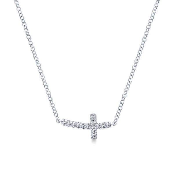 14K White Gold Sideways Curved Diamond Cross Necklace Koerber's Fine Jewelry, Inc. New Albany, IN