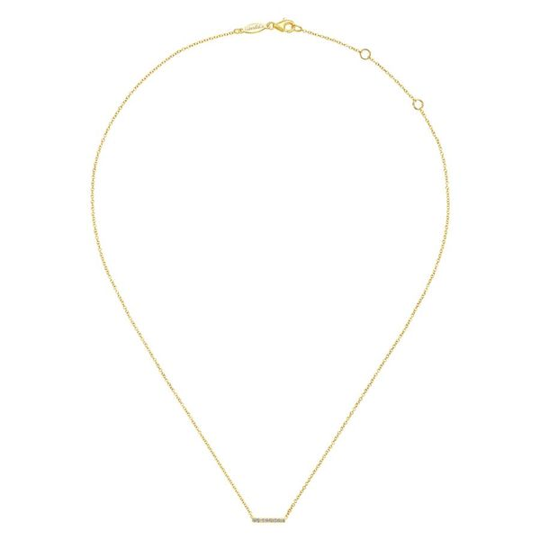 14K Yellow Gold Petite Pave Diamond Bar Pendant Necklace Image 2 Koerber's Fine Jewelry, Inc. New Albany, IN