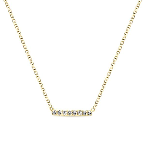 14K Yellow Gold Petite Pave Diamond Bar Pendant Necklace Koerber's Fine Jewelry, Inc. New Albany, IN