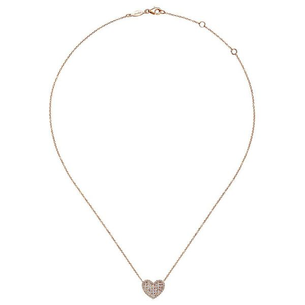 14K Rose Gold Pave Diamond Heart Pendant Necklace Image 2 Koerber's Fine Jewelry, Inc. New Albany, IN