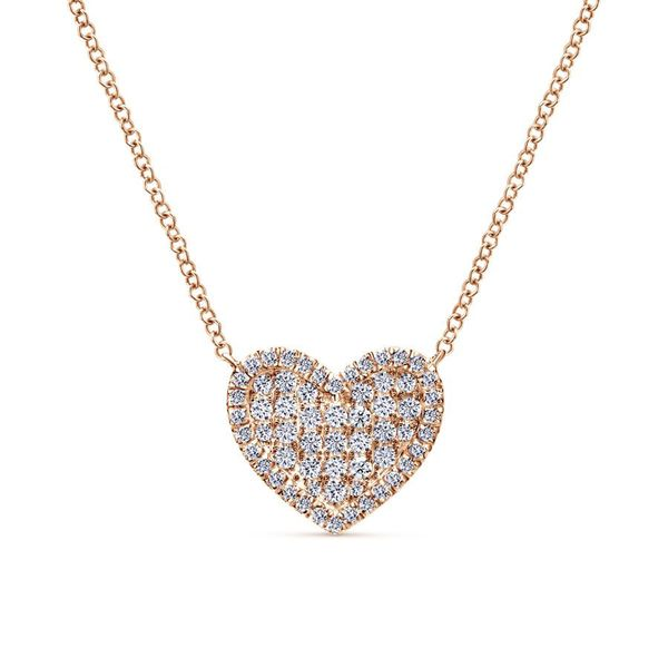 14K Rose Gold Pave Diamond Heart Pendant Necklace Koerber's Fine Jewelry, Inc. New Albany, IN
