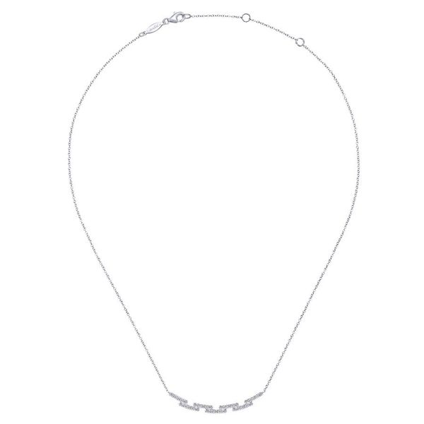 14K White Gold Segmented Curved Diamond Bar Necklace Image 2 Koerber's Fine Jewelry, Inc. New Albany, IN