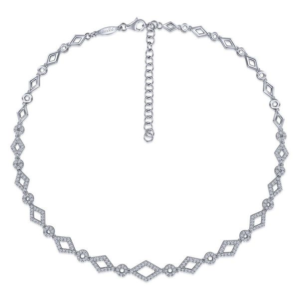 14K White Gold Geometric Pave Diamond Fashion Necklace Image 2 Koerber's Fine Jewelry, Inc. New Albany, IN