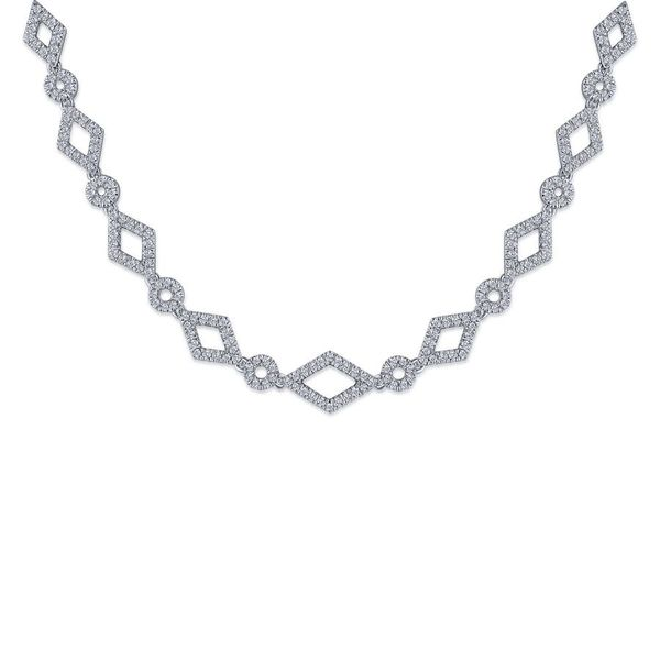 14K White Gold Geometric Pave Diamond Fashion Necklace Koerber's Fine Jewelry, Inc. New Albany, IN