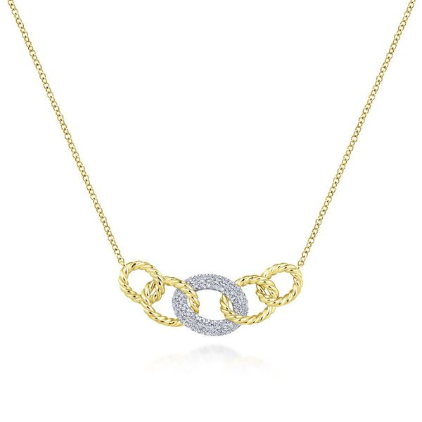 14K Yellow and White Gold Chain Link Diamond Fashion Necklace Koerber's Fine Jewelry, Inc. New Albany, IN