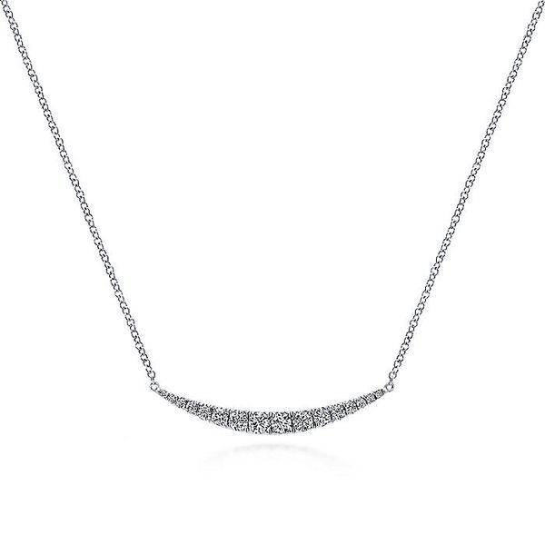 14K White Gold Curved Diamond Crescent Bar Necklace Koerber's Fine Jewelry, Inc. New Albany, IN