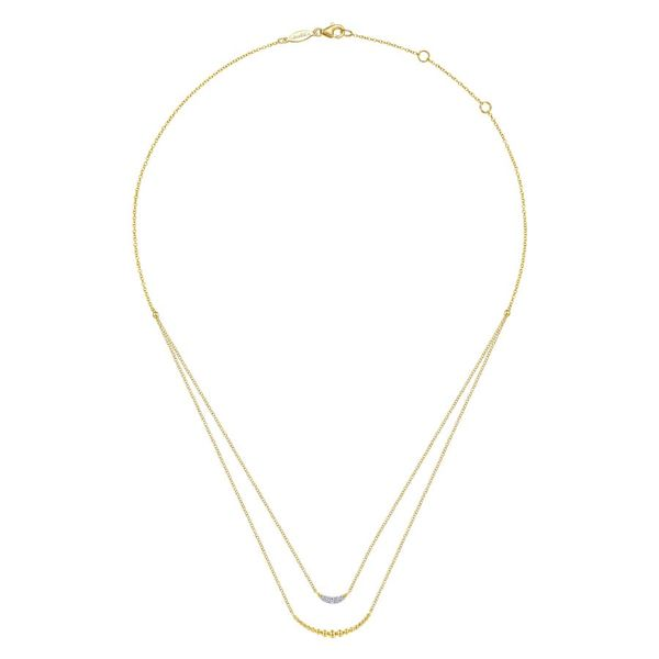 14K Yellow Gold Layered Diamond Crescent Pendant Necklace Image 2 Koerber's Fine Jewelry, Inc. New Albany, IN