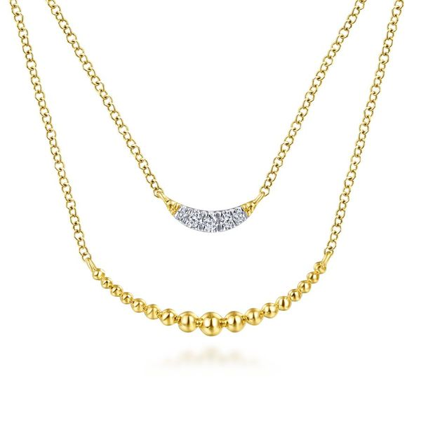 14K Yellow Gold Layered Diamond Crescent Pendant Necklace Koerber's Fine Jewelry, Inc. New Albany, IN