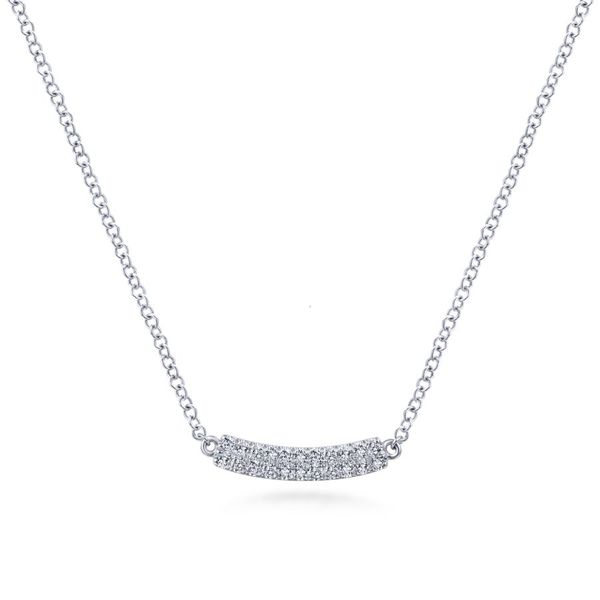 14K White Gold Diamond Curved Bar Necklace Koerber's Fine Jewelry, Inc. New Albany, IN