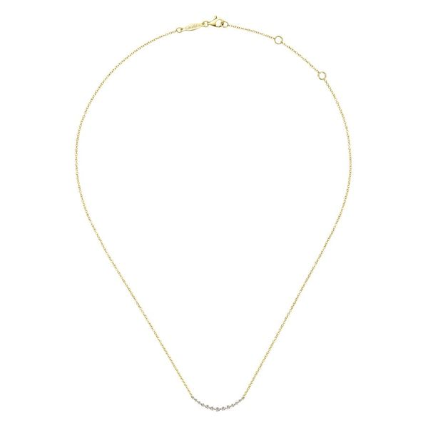 14K Yellow Gold Curved Diamond Bar Necklace Image 2 Koerber's Fine Jewelry, Inc. New Albany, IN