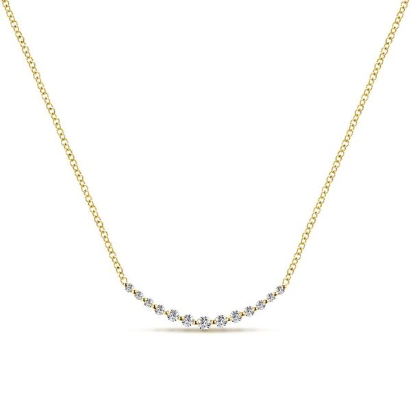 14K Yellow Gold Curved Diamond Bar Necklace Koerber's Fine Jewelry, Inc. New Albany, IN